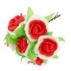 """Декор для творчества """"Роза двухцветная"""", набор-букет 6 цветков, МИКС"""