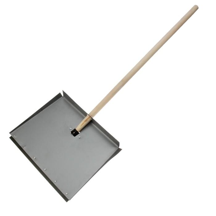 Лопата оцинкованная трёхбортная, ковш 500 × 600 мм, с металлической планкой, деревянный черенок