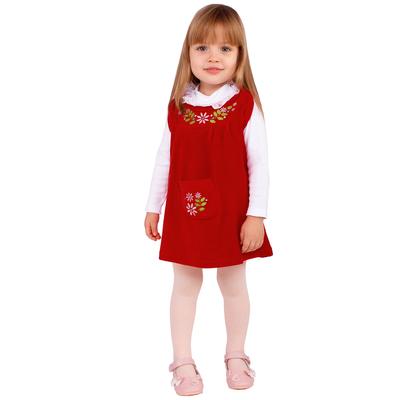 """Сарафан для девочки """"Матрёшка"""", рост 74 см (48), цвет красный"""