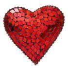 "Посвечник стекло ""Сердце"", красное"