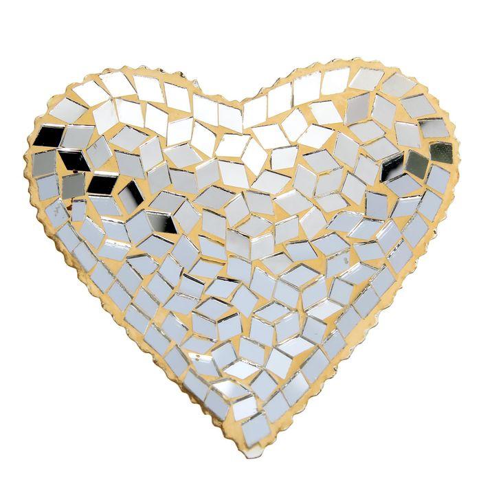 Подсвечник, золотое сердце, стекло, 12 х 12 см - фото 1668327