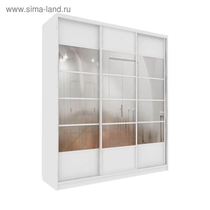 Шкаф-купе Добротный 3 зеркала+ЛДСП Белый