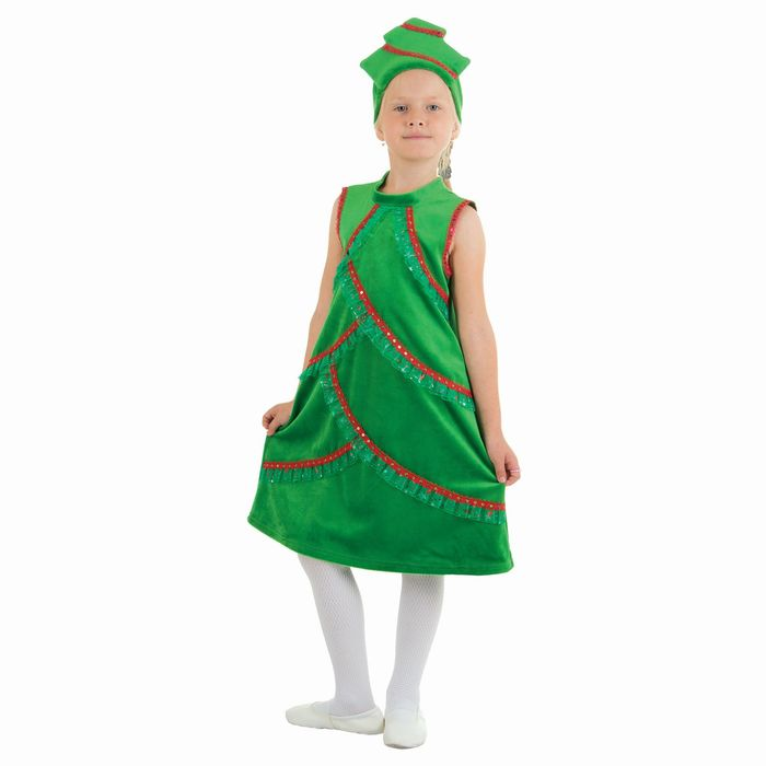 """Карнавальный костюм """"Ёлочка плюшевая"""", платье со стойкой, кокошник, р-р 30, рост 116 см"""