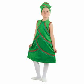 """Carnival costume """"plush Christmas Tree"""", a dress with a stand, a headdress, R-R 32, height 128 cm"""