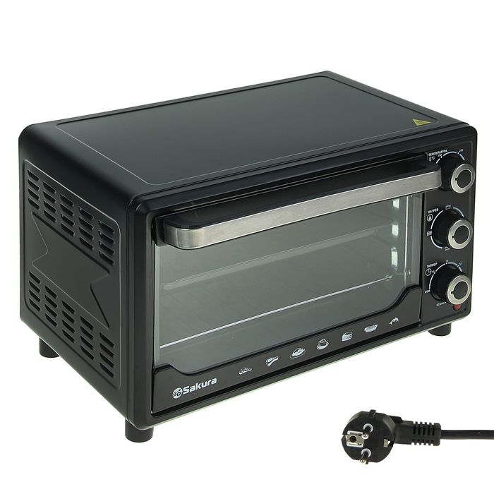 Духовой шкаф электрический SA-7000BP, 1500 Вт, 27 л, таймер, черный