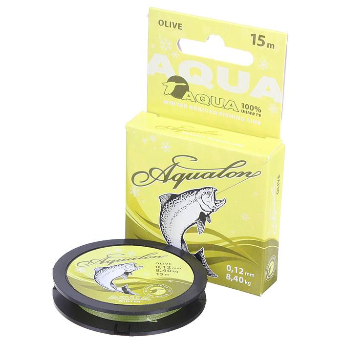 Леска плетёная Aqua Aqualon Olive, 15 м, 0,12 мм