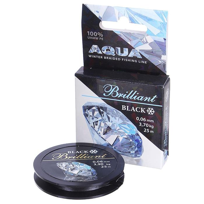Леска плетёная Aqua Black Brilliant, 25 м, 0,06 мм