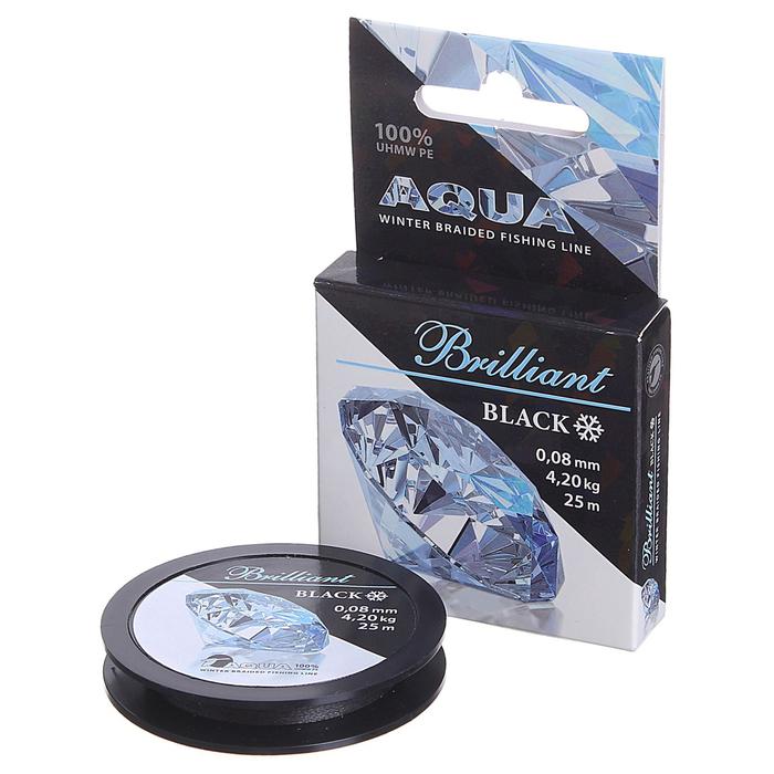 Леска плетёная Aqua Black Brilliant, 25 м, 0,08 мм
