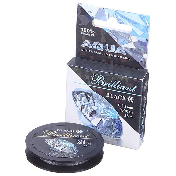 Леска плетёная Aqua Black Brilliant, 25 м, 0,12 мм
