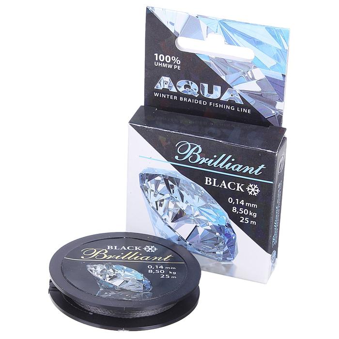 Леска плетёная Aqua Black Brilliant, 25 м, 0,14 мм