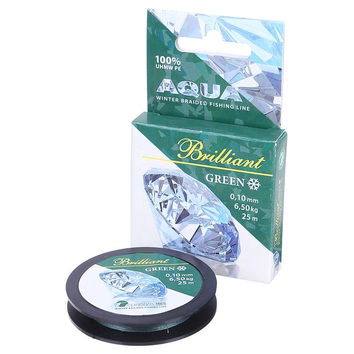 Леска плетёная Aqua green Brilliant, 25 м, 0,10 мм