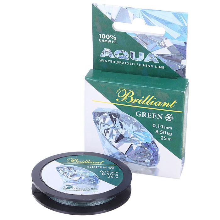 Леска плетёная Aqua green Brilliant, 25 м, 0,14 мм