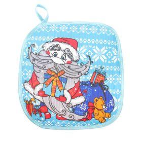 Прихватка 'Доляна' Дед Мороз 17х17см, синий 100% хл., вафельное полотно 162 г/м2 Ош