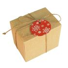 Коробка крафт из рифлёного картона с декором, 11 х 8,5 х 10 см