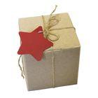 Коробка крафт из рифлёного картона с декором, 9,5 х 9,5 х 9,5 см