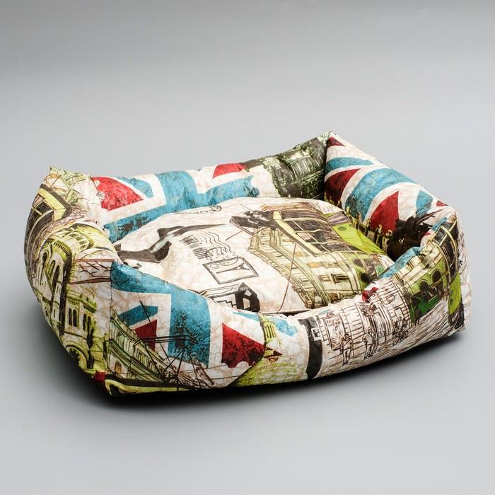 Лежанка мягкая 45 х 35 х 13 см, мебельная ткань, микс цветов