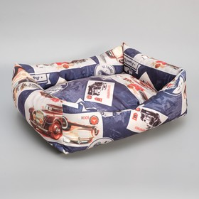 Лежанка мягкая 50 х 40 х 15 см, мебельная ткань, микс цветов