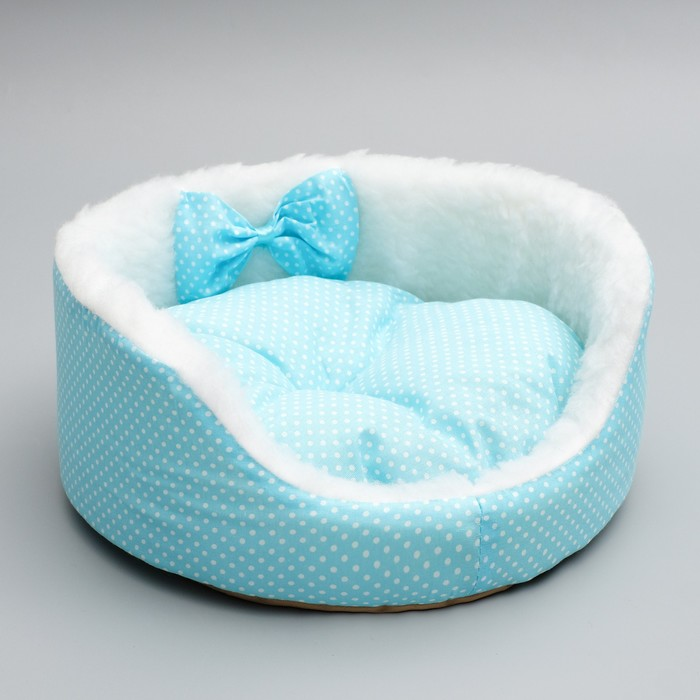 Лежанка для котят и щенков, 35 х 14 см, голубая, микс рисунка