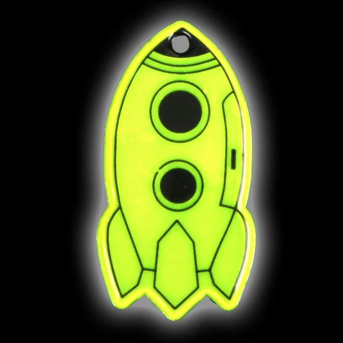 Светоотражающий элемент «Ракета», 6 × 3 см , цвет жёлтый