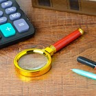 Magnifier classic gold with brown handle 6x, d=60 mm, plastic