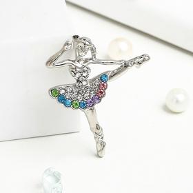 """Брошь """"Балерина"""" фуэте, цветная в серебре"""