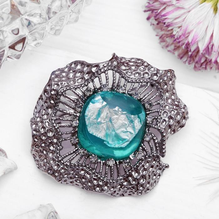 """Брошь """"Цветок"""" каменный, цвет голубой в черненом серебре"""