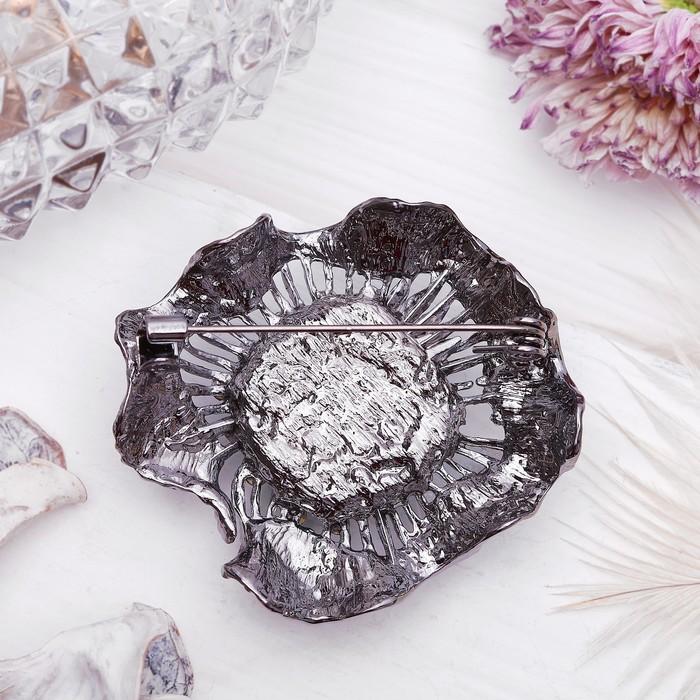 """Брошь """"Цветок"""" каменный, цвет голубой в черненом серебре - фото 301711057"""