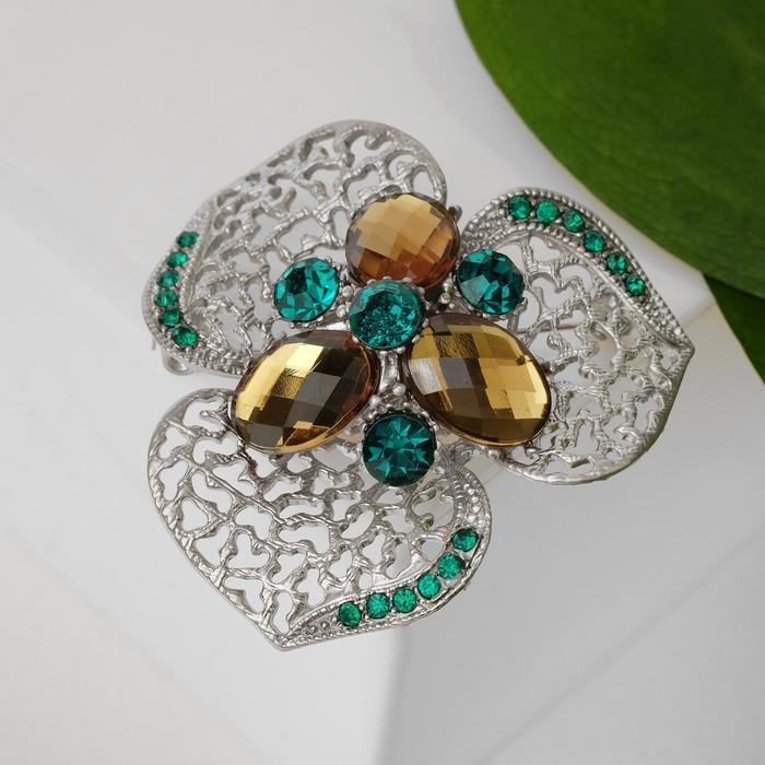 """Брошь """"Цветок"""" трилистник, цвет зеленый в серебре"""