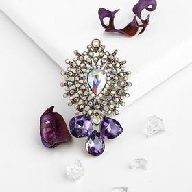 Brooch Empress luxury, purple color in blackened gold
