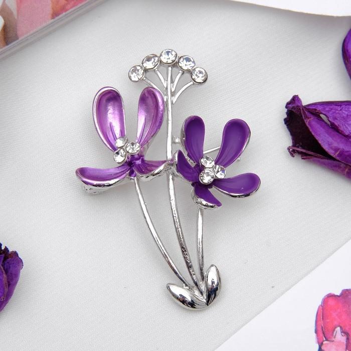 """Брошь """"Цветы"""" полевые, цвет фиолетовый в серебре - фото 274888394"""