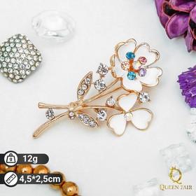 "Brooch ""flower"" bouquet, white gold"
