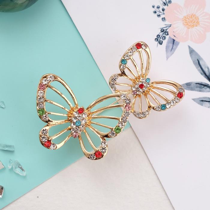 """Брошь """"Бабочки"""" в полёте, цветная в золоте"""