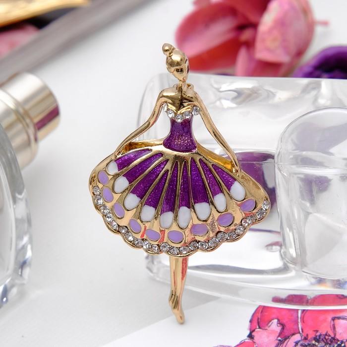 """Брошь спортивная """"Балерина"""", цвет фиолетовый в золоте"""