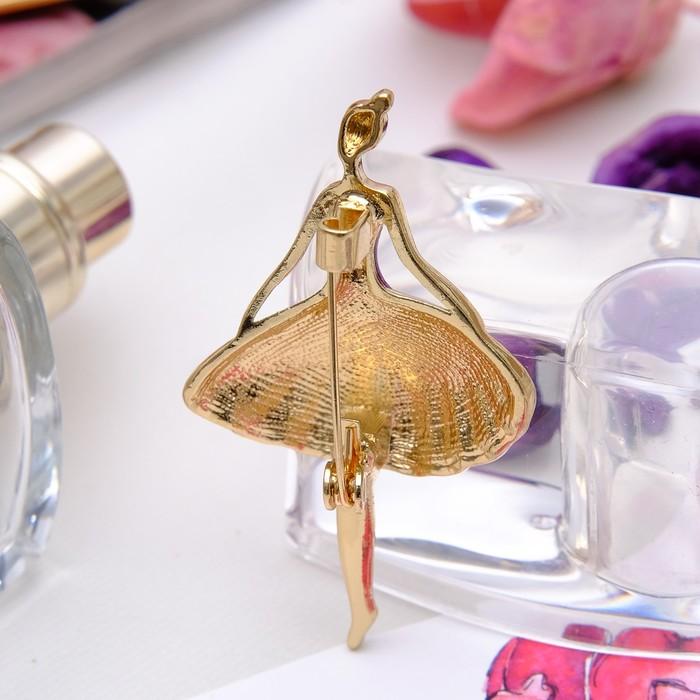 """Брошь """"Балерина"""", цвет фиолетовый в золоте - фото 297522796"""
