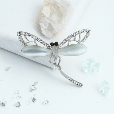 """Brooch """"Dragonfly"""" fluttering, white in silver"""