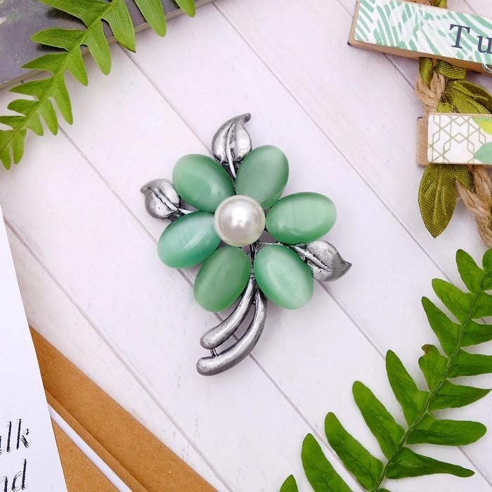 """Брошь """"Цветок оливы"""" , цвет зелёно-белый в чернёном серебре - фото 274887243"""