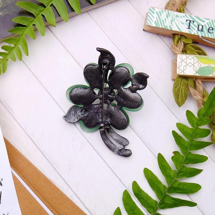 """Брошь """"Цветок оливы"""" , цвет зелёно-белый в чернёном серебре - фото 274887244"""