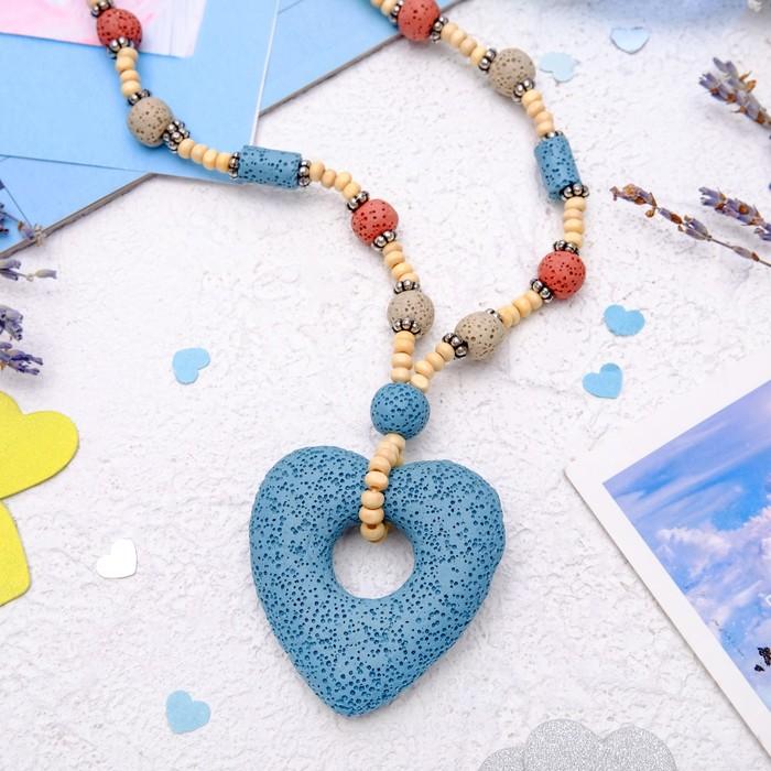 "Кулон ""Лава"" сердце, цвет голубой"