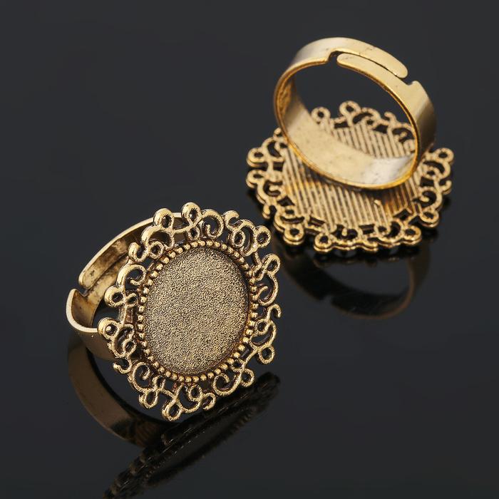 Основа для кольца (набор 2шт), регул-й раз-р,площадка 14мм, J001, цвет черненое золото