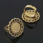 Основа для кольца (набор 2шт), регул-й раз-р,площадка 16мм, J002, цвет черненое золото