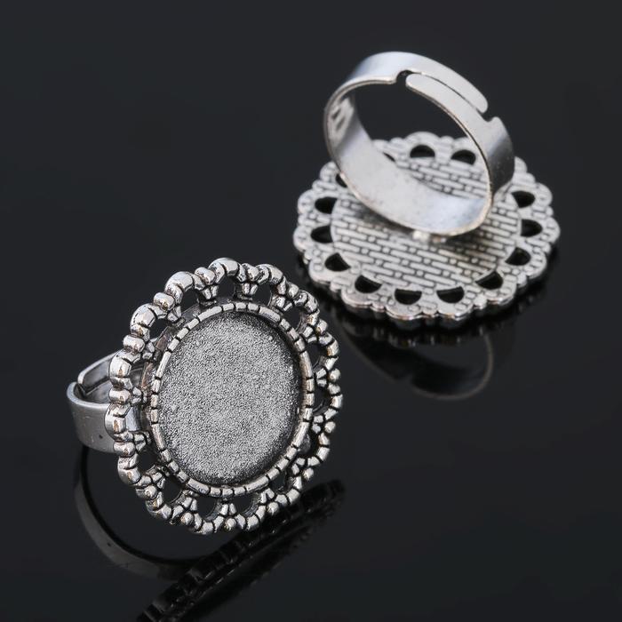 Основа для кольца (набор 2шт), регул-й раз-р,площадка 16мм, J002, цвет черненое серебро