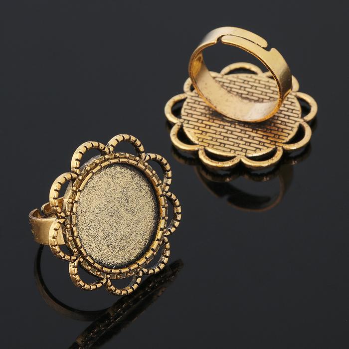 Основа для кольца (набор 2шт), регул-й раз-р,площадка 18мм, J006, цвет черненое золото