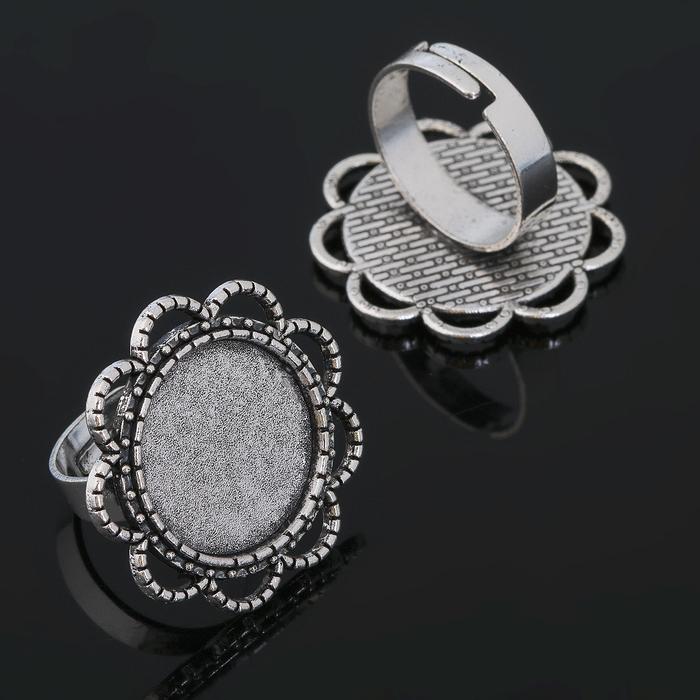 Основа для кольца (набор 2шт), регул-й раз-р,площадка 18мм, J006, цвет черненое серебро
