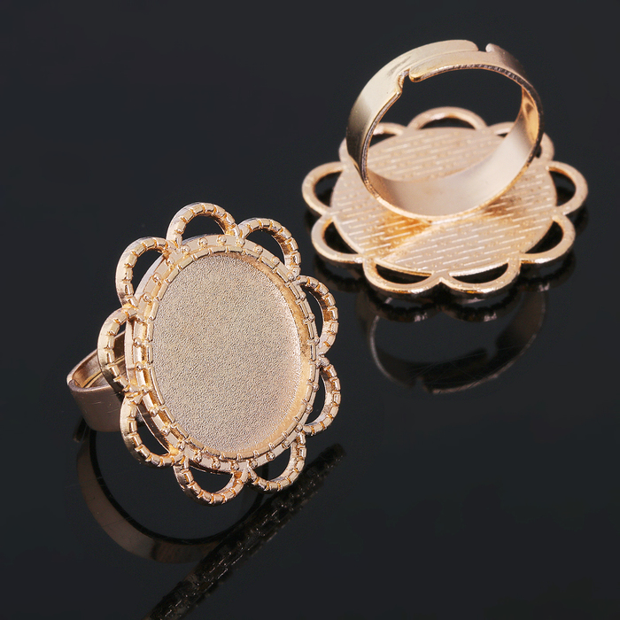 Основа для кольца (набор 2шт), регул-й раз-р,площадка 18мм, J006, цвет золото