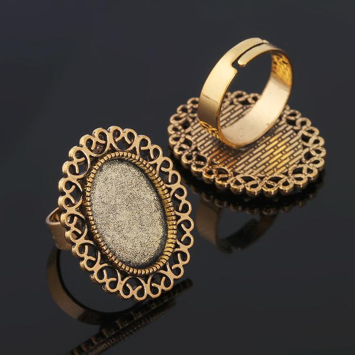 Основа для кольца (набор 2шт), регул-й раз-р,площадка 13*18мм, J014, цвет черненое золото