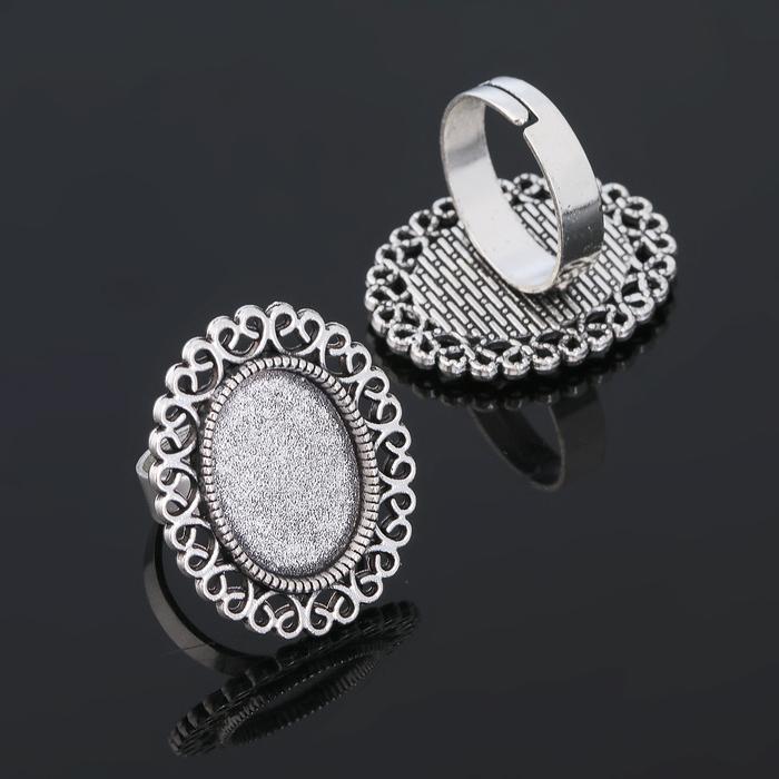 Основа для кольца (набор 2шт), регул-й раз-р,площадка 13*18мм, J014, цвет черненое серебро