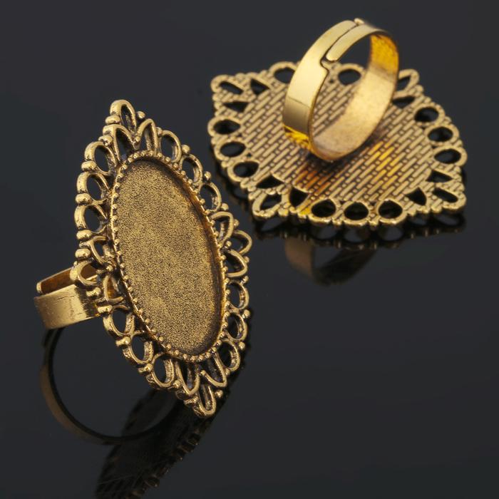 Основа для кольца (набор 2шт), регул-й раз-р,площадка 18*25мм, J020, цвет черненое золото