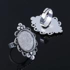 Основа для кольца (набор 2шт), регул-й раз-р,площадка 20мм, J036, цвет черненое серебро