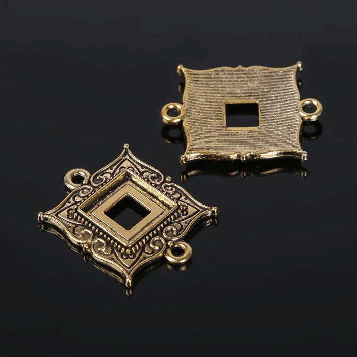 Коннектор (набор 4шт), площадка 10*10мм, Т198, цвет черненое золото