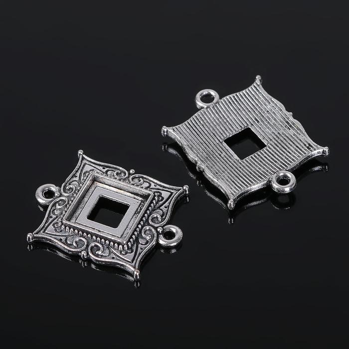 Коннектор (набор 4шт), площадка 10*10мм, Т198, цвет черненое серебро